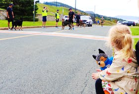 A young onlooker clutches her stuffed-toy police dog and watches as police handlers and their police service dogs get ready to begin a run from the RCMP headquarters to RNC headquarters in St. John's on Sunday. Jago's Run was held in honour of RCMP Police Service Dog Jago who was killed in the line of duty near High Prairie, Alta., on June 17.— Glen Whiffen