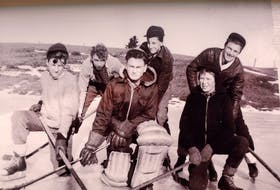 On Archibald's Ice Pond in Harmony during the early 1940s, front row from left, Fred Henderson, Ed Dobson, and Fred MacInnes. Second row, Aubrey Blair, Jim Langille and Albert Peppard.