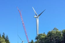Construction of a wind turbine at the Pockwock Wind Farm, a 10-megawatt project just outside Halifax, being developed by Community Wind Farms and Chebucto Pockwock CEDIF. CONTRIBUTED • Community Wind Farms