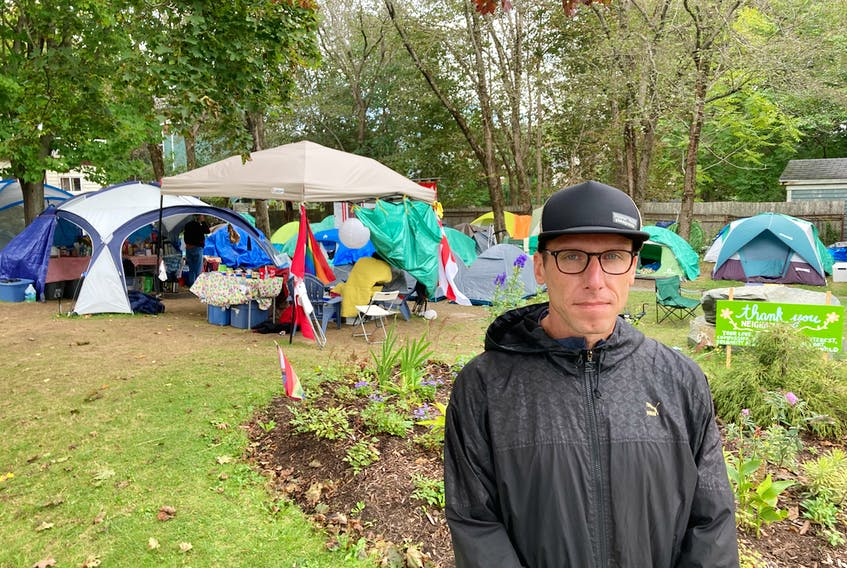 Drew Moore, a volunteer with  P.A.D.S. Community Network, says he's inspired by the many Haligonians who have supported People's Park with needed donations.