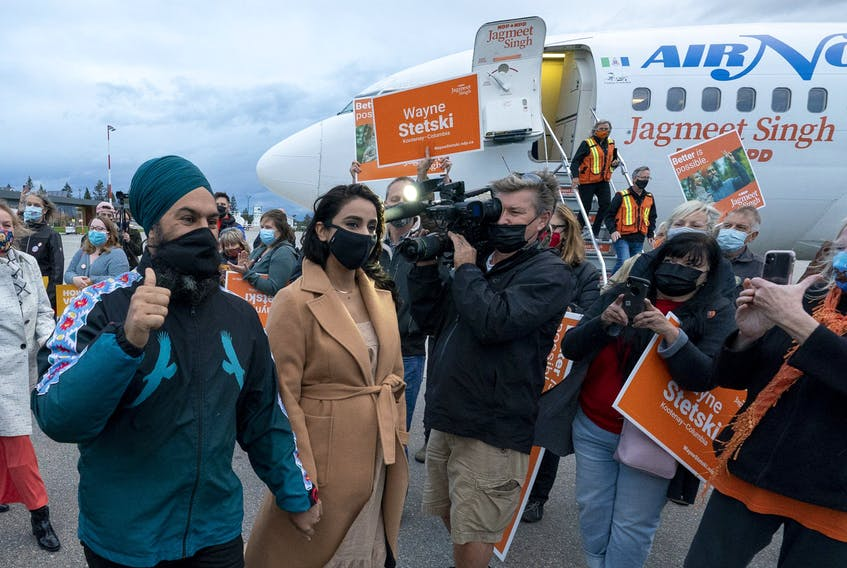 NDP Leader Jagmeet Singh makes a campaign stop in Cranbrook, B.C., on Saturday.