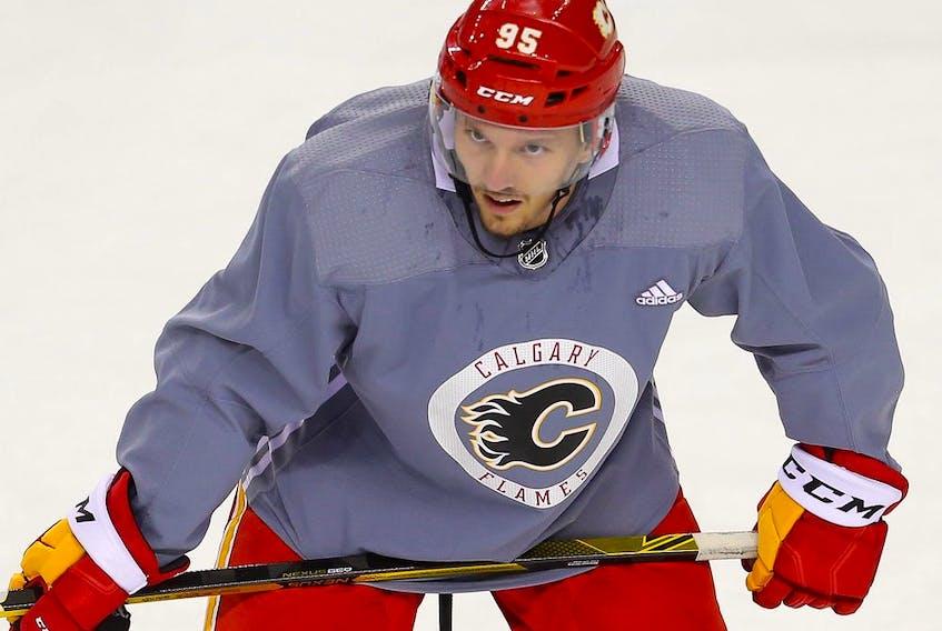 Calgary Flames #95 Johannes Kinnvall during the 2021prospects' NHL training camp in Calgary on Thursday, September 16, 2021. Al Charest / Postmedia
