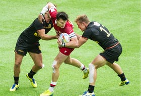 Canada in action against Germany during the HSBC World Rugby Sevens series in Vancouver on Saturday, Sept. 18, 2021.