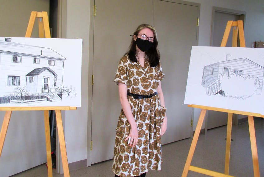 Glace Bay artist Emily Sheppard drew around 30 sketches, many of which were displayed as part of the exhibit, Historic Homes of Polish Cape Breton. — IAN NATHANSON/CAPE BRETON POST