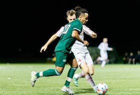 Salem Faraq, 20, of the UPEI Panthers controls the ball in an Atlantic University Sport men's soccer game in Charlottetown on Sept. 18. Faraq scored the game's lone goal in the Panthers' 1-0 victory. UPEI Athletics Photo