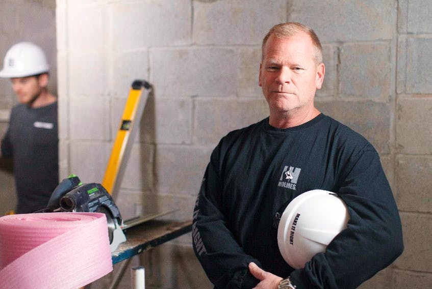 Follow the right steps when finishing your basement, says Mike Holmes. Mike in a homeowners basement from Holmes Next Generation.