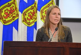 Education Minister Becky Druhan speaks to media after a Progressive Conservative cabinet meeting on Thursday, Sept. 2, 2021.