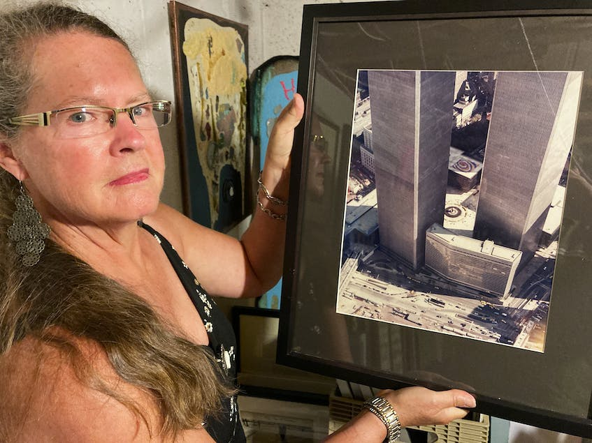 In 1984, Cape Sable Island artist Joanna Gilman Hyde painted the giant artwork Self-Organizing Galaxy the base of the World Trade Center's twin towers in New York City. - Stephen Cooke