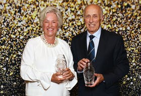 Well-known local business people Annette Verschuren, left, and Brian Shebib were inducted into the Cape Breton Business and Philanthropy Hall of Fame this week. Verschuren, a longtime Canadian business executive, was inducted into the hall for a second time. She was made a laureate of the business side of the hall in 2013 and made it into the philanthropy side on Aug. 31. Shebib made his mark on the commercial fishing industry and was inducted into the business side of the hall. Both recipients hail from North Sydney. The induction event was held Tuesday. It was presented by the Cape Breton Regional Chamber of Commerce. CONTRIBUTED • CAPE BRETON REGIONAL CHAMBER OF COMMERCE