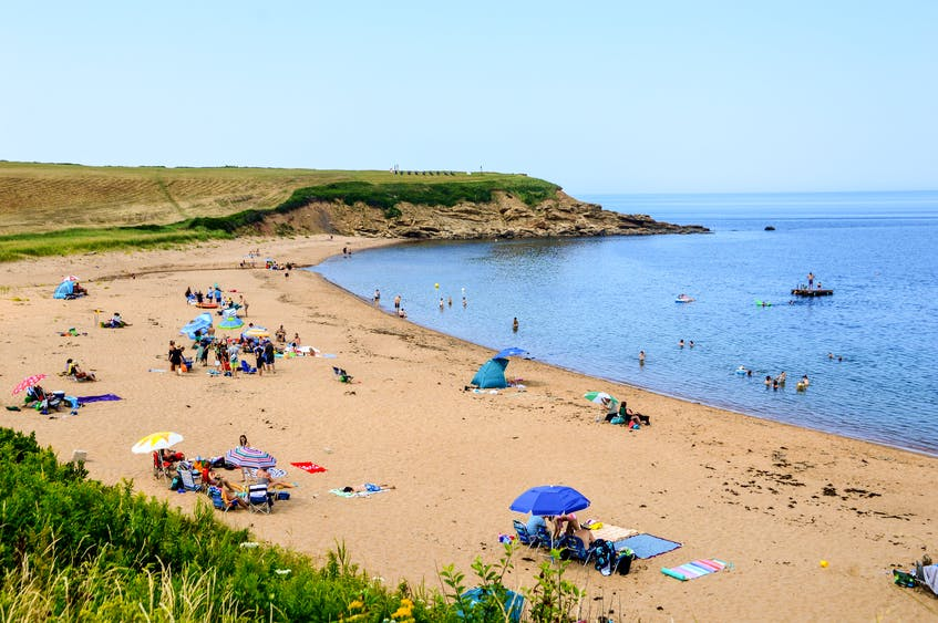Beachgoers enjoy the hot weather at Whale Cove Beach in Margaree Harbour. A young woman was bitten by a shark on Aug. 13 while swimming near Margaree Island.JESSICA SMITH/CAPE BRETON POST