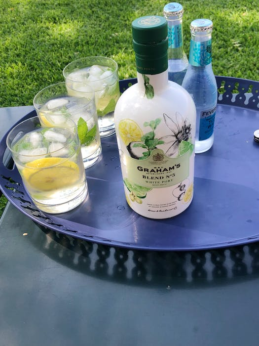 White Port, such as Graham's Blend No 5, combined with tonic makes a refreshing brunch cocktail. - Mark DeWolf