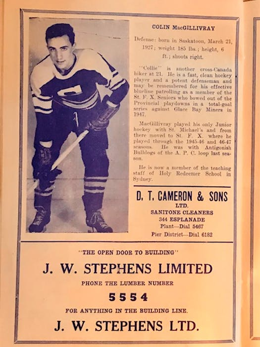 Defenceman Colin MacGillvray and ads from 1948-49 Sydney Millionaires program. Contributed