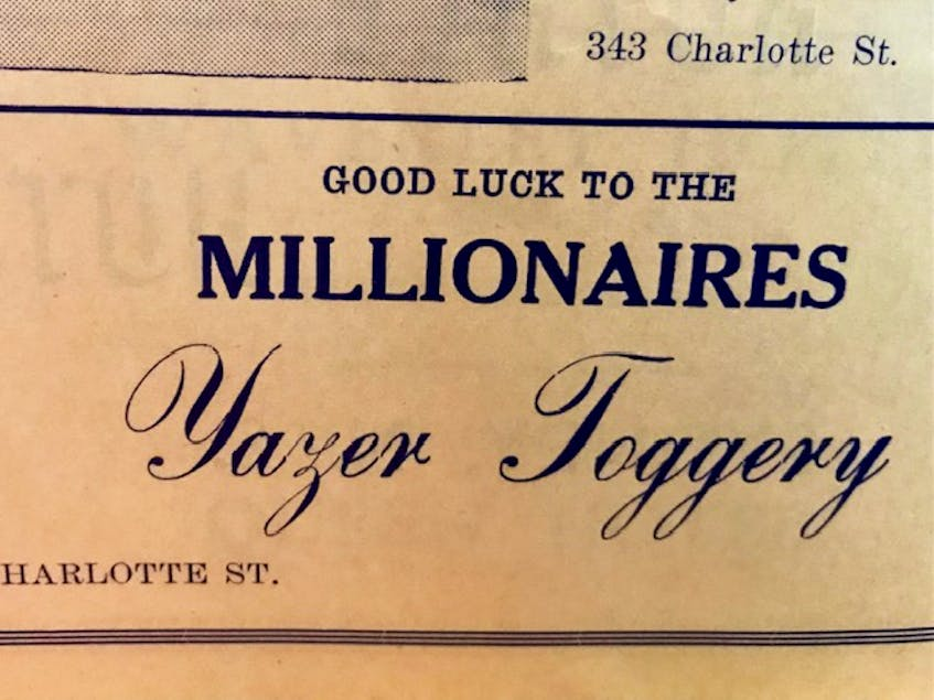 A Yazer Toggery advertisement in the 1948-49 Sydney Millionaires program. The business would eventually become Yazer's Men's Wear. Contributed