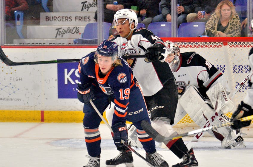 Orrin Centazzo (19) shown playing in a WHL game against the Vancouver Giants, scored 44 goals for the Kamloops Blazers in 2019-20. — Vancouver Giants photo/Gary Ahuja - Contributed