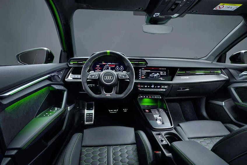 The Audi RS 3's tasty Virtual Cockpit is present and accounted for, as is a jumbo infotainment touchscreen. Handout/Audi - POSTMEDIA