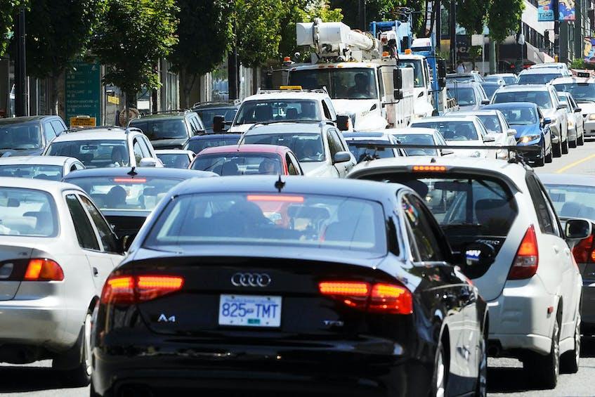 Traffic congestion in Vancouver on Hastings Street in 2014. Wayne Leidenfrost/Postmedia News file - POSTMEDIA