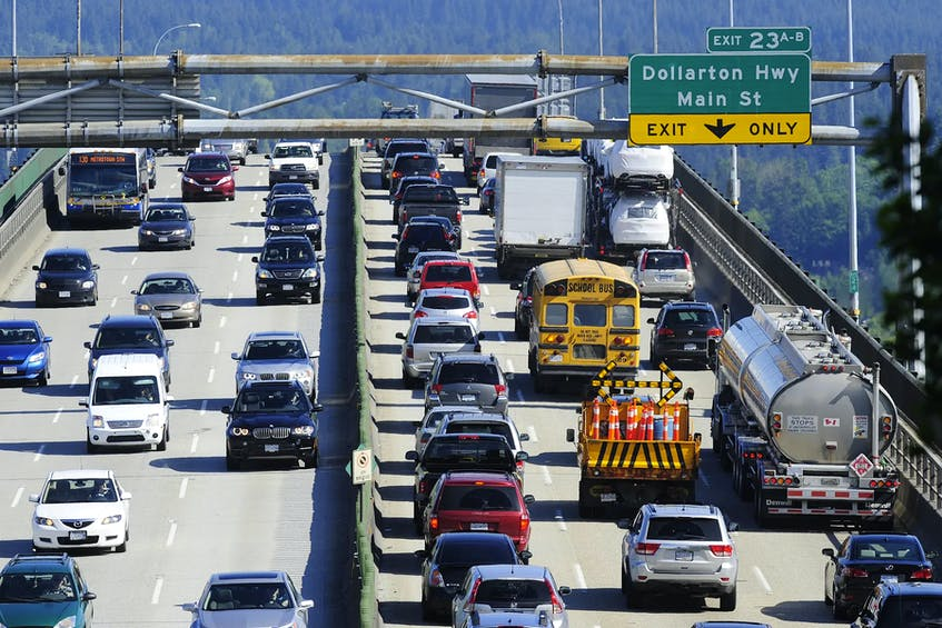 Backed-up traffic on the Second Narrows Bridge in Vancouver in 2013. Nick Procaylo/Postmedia News file - POSTMEDIA