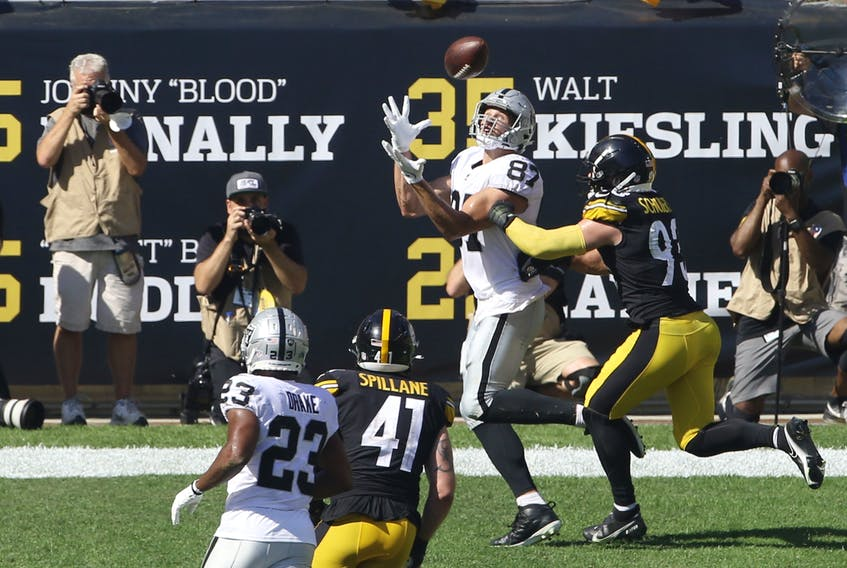 Las Vegas Raiders tight end Foster Moreau (87) gets behind Pittsburgh Steelers middle linebacker Joe Schobert (93) for a TD catch during the third quarter at Heinz Field. (Charles LeClaire/USA TODAY Sports)