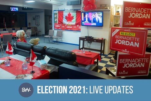 A small crowd of Bernadette Jordan supporters gathers at the Bridgewater Curling Club to watch the federal election results roll in on Monday, Sept. 20, 2021.