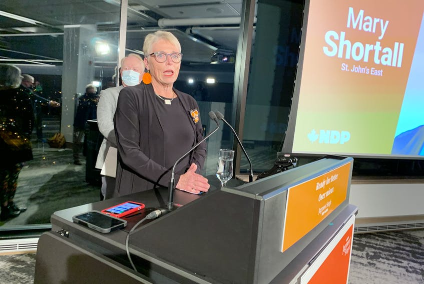 NDP candidate for St. John's East Mary Shortall speaks to supporters Monday night.