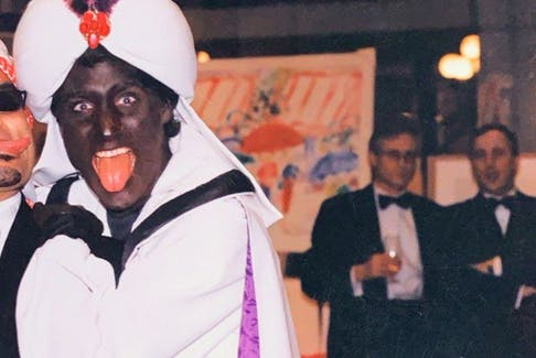 Trudeau seen wearing blackface during a 2001 Arabian Nights costume party.