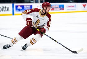 Cole Huckins, a third-round pick of the Calgary Flames, collected 14 goals and 32 points in 33 appearances as a draft-eligible with the QMJHL's Acadie-Bathurst Titan. (Photo by Olivier Croteau, courtesy of Acadie-Bathurst Titan)