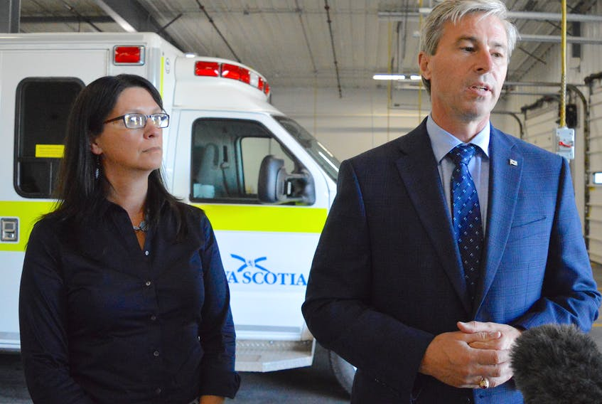 Nova Scotia Health Minister Michelle Thompson, left, and Premier Tim Houston speak to the media at the Emergency Health Services headquarters in Sydney on Monday. The province's health leadership team visited Cape Breton as part of its Speak Up for Healthcare tour. Chris Connors/Cape Breton Post