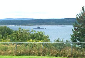 What appears to be a Royal Canadian Navy submarine off South Bar on Saturday. Contributed/Billy Petite