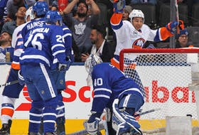 Josh Ho-Sang, then of the New York Islanders, celebrates a goal against the Leafs in 2018.