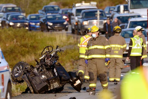 What's left of an ATV sits on the side of the Trans-Canada Highway west of Paddy's Pond Tuesday morning, Sept. 21, 2021. The vehicle was involved in a collision with a sedan. - Keith Gosse