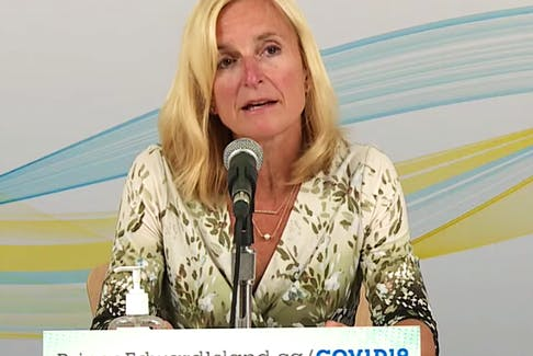 P.E.I.'s chief public health officer Dr. Heather Morrison announces three new positive cases of COVID-19 in P.E.I. during a scheduled briefing on Sept. 21, 2021.