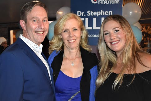 Dr. Stephen Ellis with wife Deborah and daughter Samantha at the election victory party at The Blunt Bartender in Truro.