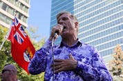 People's Party of Canada (PPC) leader Maxime Bernier speaks during a protest rally outside the Canadian Broadcasting Corporation (CBC) headquarters in Toronto, Ontario, Canada September 16, 2021.