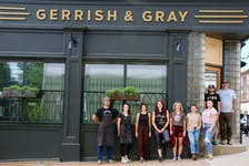 The staff of Gerrish & Gray are ready to welcome customers. Pictured here, from left, are chef Norm Samways, pastry chef Steph MacNeil, general manager Brianna MacCara, front of house staff Brandie Sim, Alexa Purdy and Alisha Christie, floor manager Heidi Haines, and co-owners Ben Bennett and Conrad Mullins.