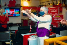 Former fisheries minister Bernadette Jordan acknowledges her supporters at the Bridgewater Curling Club after losing to PC candidate Rick Perkins in the federal election on Monday. Ryan Taplin - The Chronicle Herald
