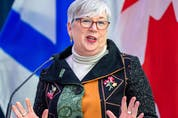 Bernadette Jordan, minister of Fisheries and Oceans, addresses the audience at the keel laying ceremony of the future HMCS HMCS William Hall at Irving Shipbuilding in Halifax on Wednesday, Feb. 17, 2021.