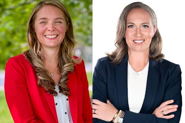 Jenna Sudds, left, is the Liberal candidate for Kanata-Carleton, and Jennifer McAndrew is running for the Conservatives.