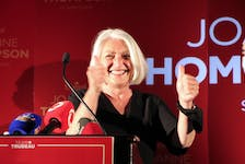 Newly elected St. John's East Liberal Member of Parliament Joanne Thompson celebrates the win Monday night.