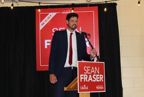 Liberal Sean Fraser thanked his supporters for another election victory during a speech at the Stellarton Fire Hall.