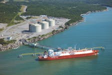 A LNG tanker unloads at the LNG import terminal at Canaport in Saint John, New Brunswick. This is Canada's only operational LNG terminal, but Canadian regulators are currently reviewing proposals for construction of 18 LNG export facilities from British Columbia to Nova Scotia.
