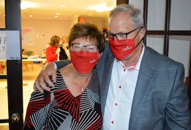 Cardigan Liberal MP Lawrence MacAulay celebrates his election victory on Sept. 20 with Lorna Smith, his campaign manager.