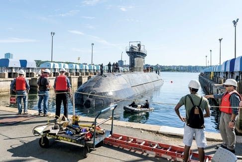 The HMCS Windsor, which caused excitement in various parts of Cape Breton when it was sighted on Saturday, is shown docked.  MCpl Anthony Laviolette/Royal Canadian Navy