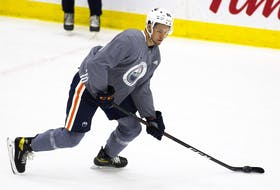Philip Broberg skates at the Edmonton Oiler rookie camp on Thursday, Sept. 16, 2021 in Edmonton.