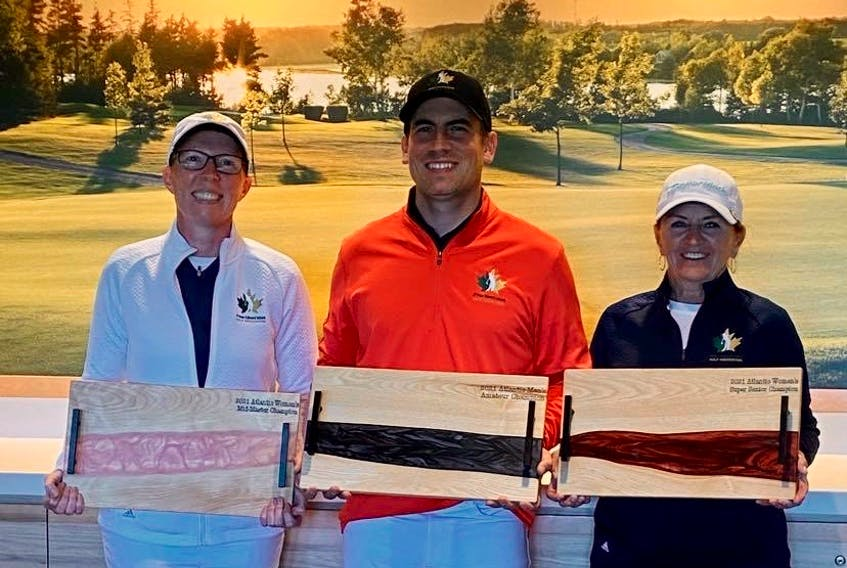 Three Team P.E.I. members won the division titles at the 2021 Atlantic golf championships at the Mill River Golf Course, Sept. 18-19. From left are Melissa Castle, women's mid-master division; Jason Campbell, men's amateur division, and Paula Buote, women's super-senior division.