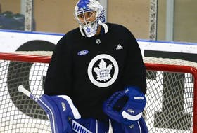 Toronto Maple Leafs goalie Petr Mrazek between the pipes at their practice facility in Etobicoke on September 15, 2021.