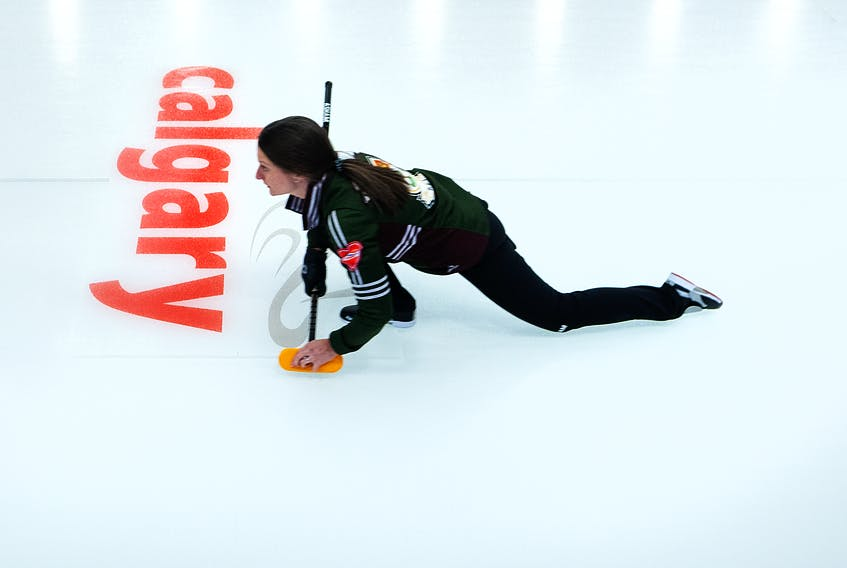 P.E.I. skip Suzanne Birt follows her shot during the 2021 Scotties Tournament of Hearts Canadian women's curling championship in Calgary, Alta.