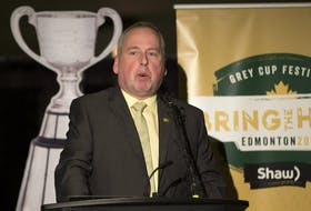 Len Rhodes, President and CEO of the Edmonton Eskimos speaks during a pass conference to announce the festival lineup at the 2018 Grey Cup , taken on Wednesday, Sept. 19, 2018 in Edmonton.