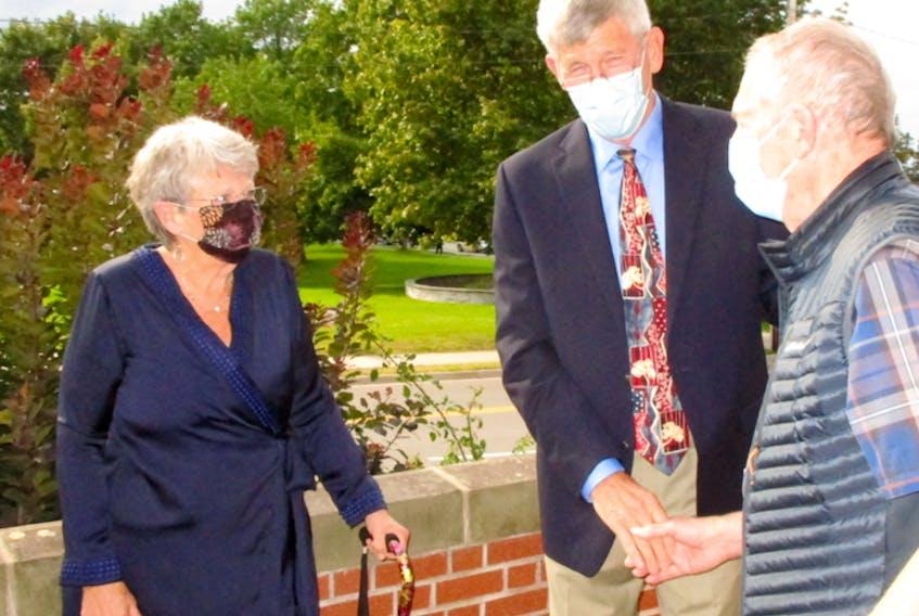 Nancy Denton-Peck and her husband, Warren Peck, greeted those attending her Sept. 12 recital outside Wolfville Baptist Church.