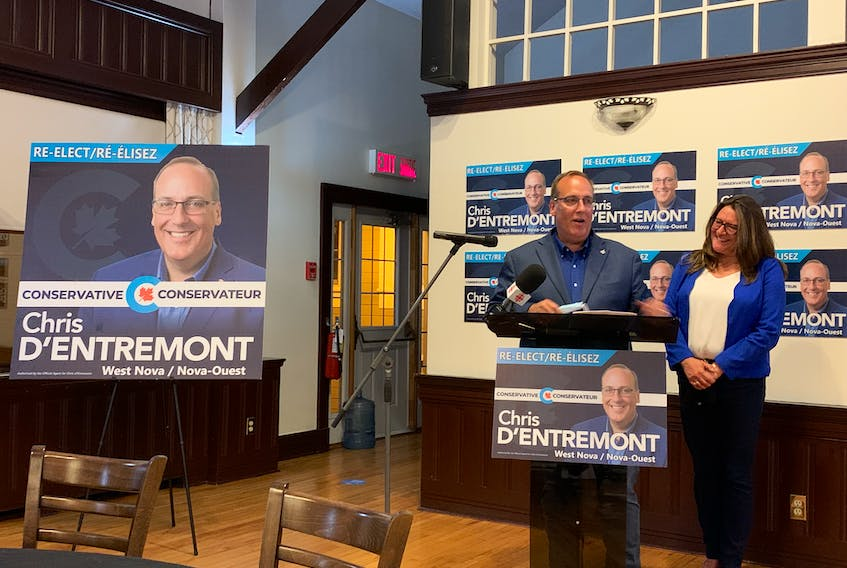 Conservative candidate Chris d'Entremont, with his wife Anne by his side, thanks his team, family and supporters after being re-elected MP of the West Nova riding. CONTRIBUTED