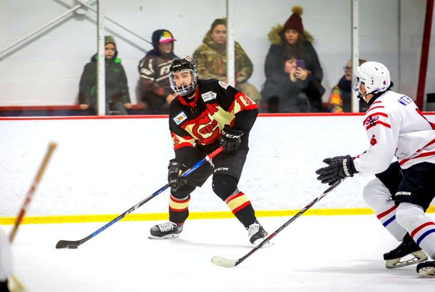 Kyle McGrath, shown in this file photo playing a St. John's Junior Hockey League game, went on a scoring spree for the St. John's Caps junior and senior entries in 2019-20, averaging about 2.5 points per contest. — Contributed